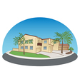 light yellow two-storey house with trees vector image
