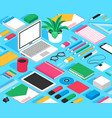 stationary isometric mockup seamless pattern vector image