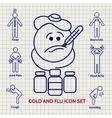 Line Influenza icons set vector image