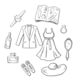 Sketched fashion icons with clothes and itmes vector image vector image
