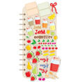 scrapbook elements with fruit and jam vector image