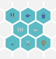 flat icons watering can fence garden hose and vector image