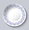 vintage porcelain plate on clear background vector image