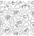 doodle summer seamless pattern with sun vector image