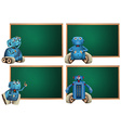 Board template with blue robot vector image