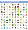 100 playground icons set flat style vector image