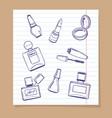 popular cosmetics sketch icons vector image