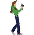 Cartoon man with photo camera walking vector image vector image
