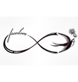 Infinity symbol with swallow vector image