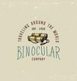 binocular logo emblem or label monocular vintage vector image