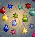 New year pattern with Christmas tree toys Ball and vector image