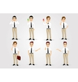 set of businessmen in poses vector image