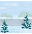 winter landscape forest river vector image