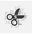 Drawing business formulas scissors vector image