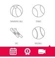 Swimming ball tennis and baseball icons vector image