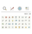 SEO and market analytics color icons vector image vector image