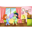 Two girls playing pillow fight vector image vector image