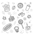 cartoon cute bakery on white background linear vector image