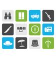 Flat safari hunting and holiday icons vector image