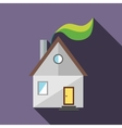 House and green leaf icon flat style vector image