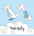 nice stork with bag to baby shower card vector image