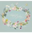 vintage doodle floral wreath vector image