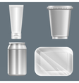 set of silver plastic can with beverage can vector image