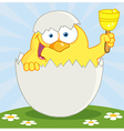 Yellow Chick Ringing A Bell vector image vector image