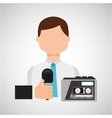 interview news microphone and tape recorder vector image