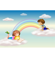 A rainbow with kids vector image