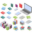 isometric books and laptop set vector image