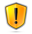 warning sign icon on shield on white vector image vector image