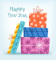 Happy New year greeting with gift boxes vector image vector image