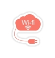 paper sticker on white background Wi fi cloud vector image