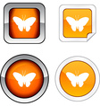 Butterfly button set vector image