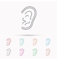 Ear icon Hear or listen sign vector image