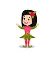 lovely smiling little girl in the costume of elf vector image