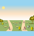 people relaxing in nature in a beautiful urban vector image