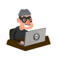 robber hacker with laptop computer vector image