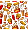 Fast food dinner seamless pattern vector image