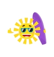 Smiling sun wearing sunglasses and holding surf vector image vector image