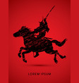 samurai warrior with sword riding horse vector image