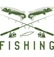 vintage fishing design template with pike vector image