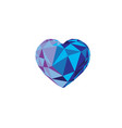 low poly blue crystal bright hearts vector image