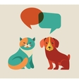Collection of cat and dog with speach bubbles vector image