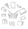 Trading sketch icons for online shopping vector image vector image