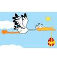 Stork Flying An Easter Egg vector image