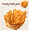 Sweet potato fries in paper box Detailed vector image