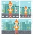 Business woman opening her jacket like superhero vector image