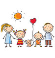 family with two children and a puppy vector image
